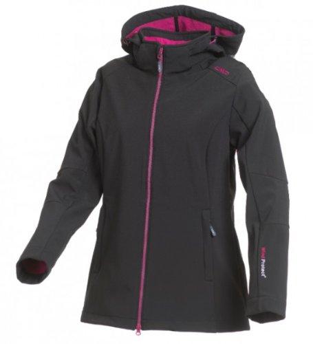 F. lli Campagnolo Cmp Lady Softshell Chaqueta con capucha desmontable Negro/Rosa