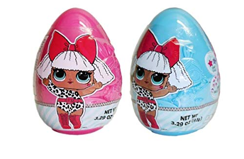Blue and Pink LOL Suprise Jumbo Easter Eggs with Candy, Pack of 2