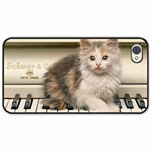 iPhone 4 4S Black Hardshell Case kitten fluffy piano Desin Images Protector Back Cover