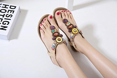 Ruiren Ronda Peep Toe Bead Sandalias Elásticas de Bohemia Para Mujeres, Playa de Verano Sandalias de Poste Flip Flop Zapatos Planos Para Damas Albaricoque