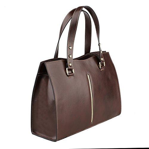 Cm Chicca Marron main Borse femme en véritable Sac foncé cuir Italie 38x27x12 Fabriqué à en p7qxzvgw