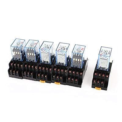 6 Pcs AC 110V/120V Coil 4PDT 35mm DIN Rail Power Relay + Socket