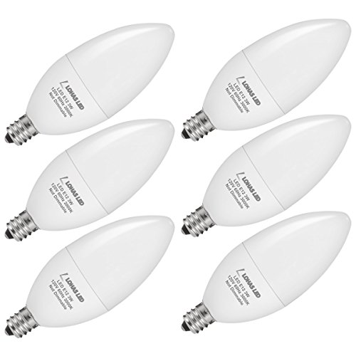 LOHAS E12 Candelabra LED Bulbs, Chandelier Light Bulbs, 3 Watt LED Light 25 Watt Equivalent, 3000K Soft White, Decorative Candle Base Bulb, 250LM 180 Degree, for Home Lighting Non-Dimmable, 6 Pack