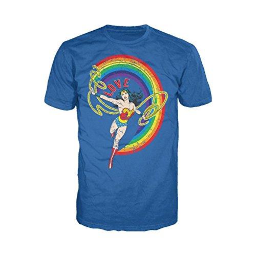 - Urban Species DC Comics Wonder Woman Rainbow Love Official Men's T-Shirt (Royal Blue) (Medium)