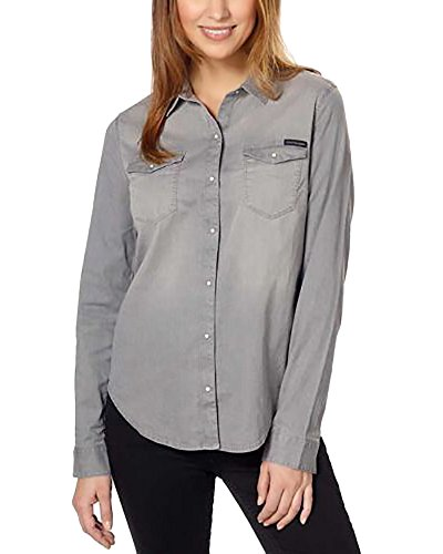 Calvin Klein Jeans Women's Women's Long Sleeve Denim Button Down Shirt (Aleesa Grey, Small) by Calvin Klein