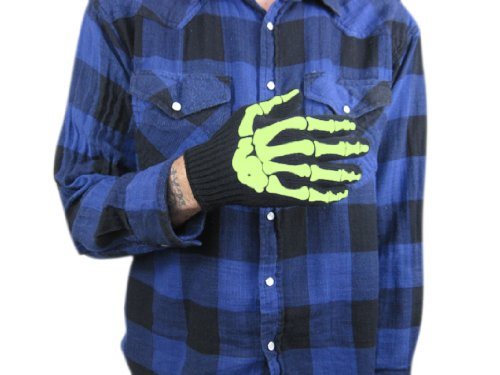 Dotted Palm Gloves (Glow in the Dark Skeleton Bone Work Gloves with Dotted Palm for Added Grip)