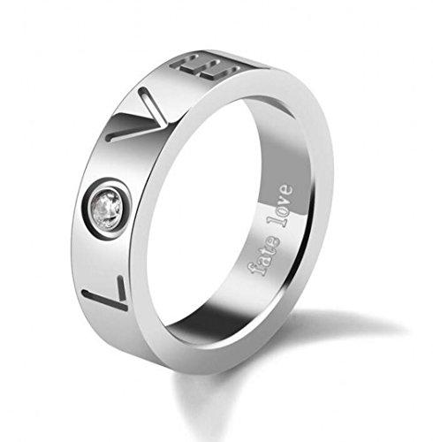 Jogray Fashion Rings Mens Silver Tone Rhinestone  Love  Charm Ring 6Mm In Width Us8