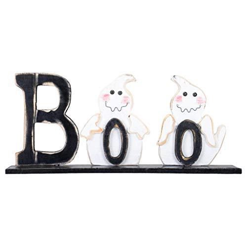 Hanna's Handiworks Boo Friendly Ghosts 20 x 8.5 Inch Distressed Black Wood Decorative Halloween Tabletop ()