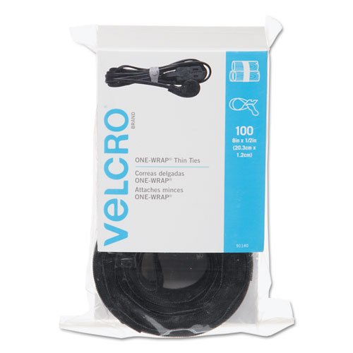 VELCRO - ONE-WRAP Thin Self-Gripping Cable Ties Reusable Light Duty - 8 x 12 Ties 100 Pack - Black