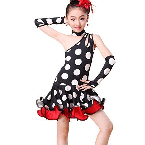 [YC WELL Girl's Latin Dance Costume Rumba Samba Tango Ballroom Cha Cha Cami Children Dance Dress Party Stage(White] (Chacha Dance Costume)