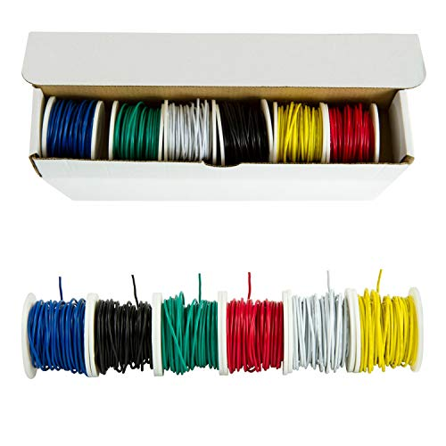 - Houseables Electrical Wire Kit, Solid Hook Up Electric Wiring, 6 x 22 Gauge Spools (25 Feet Each), Red, Black, Green, Yellow, White & Blue AWG Assortment, Electronic Hookup Core Wires, Thin Coated