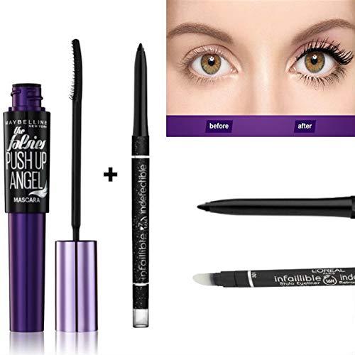 Kit L'Oréal Paris Maybelline Push Up Angel Mascara Noir, L'Oréal Paris Make-Up Designer Infaillible Stylo Eyeliner 24H Noir Black (Kit de 2 Produits)