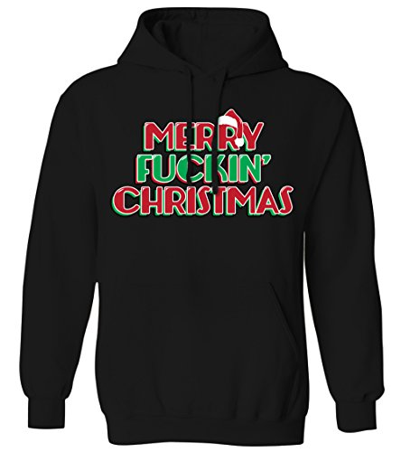 Bad Santa Merry Christmas - Merry F'ing Christmas Mens Hoodie Sweatshirt (Black, Large)