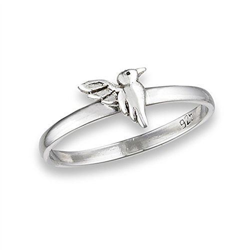 High Polish Hummingbird Cute Bird Ring New .925 Sterling Silver Band Size 6
