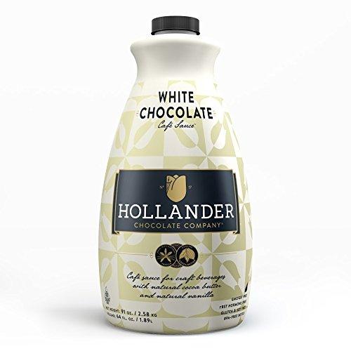 Hollander Chocolate Co. White Chocolate Café Sauce, 91 oz. - Syrup Chocolate Coffee For White