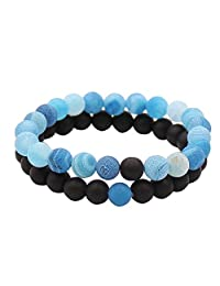 UEUC His and Hers Couple Yin Yang Bracelet Black Matte Agate 8mm Beads Bracelet (2pcs)