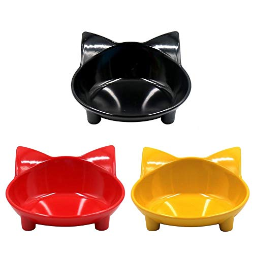 WXLAA Cat Bowls, Melamine Non Slip Multi-Purpose Pet Food Water Feeding Bowl for Cats and Small Dogs, Set of 3 (Black/Red/Yellow)