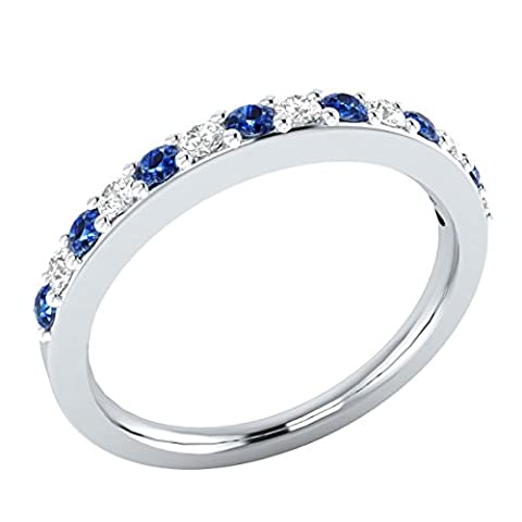 RSJ Global 14k White Gold Plated 0.45 ct Created Blue Sapphire Round & Created Simulated Diamonds Solid Half Eternity Wedding Band Ring - Blue Sapphire Eternity Ring