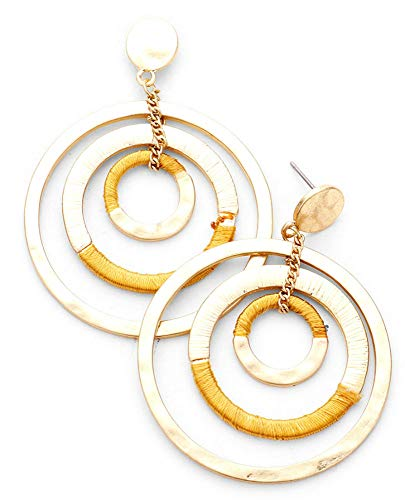 (Gold and Mustard Yellow Thread Wrapped Layered Triple Open Circle Earrings, 1.75