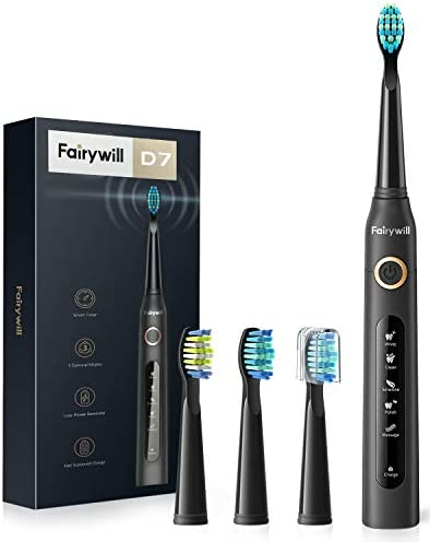 Fairywill Electric Toothbrush Powerful Sonic Cleaning - ADA Accepted Rechargeable Toothbrush with Timer, 5 Modes, 3 Brush Heads, 4 Hr Charge Last 30 Days Whitening Toothbrush for Adults and Kids