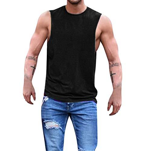 BAOHOKE Round Neck Sleeveless Vest Summer Men's Tees Solid Simple Pullover Tank Tops Blouse T-Shirt(Black,L)