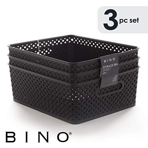 BINO Woven Plastic Storage Basket, Large – 3 Pack (Black)