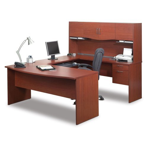 Bestar Harmony U-shaped Workstation, Bordeaux/Charcoal - Bestar Charcoal