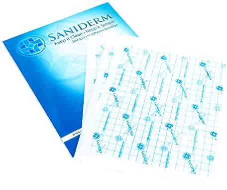 Saniderm Tattoo Bandage | Personal Pack | 3 Pre-Cut Sheets - 8 x 10 inches | Clear Adhesive Antibacterial Film