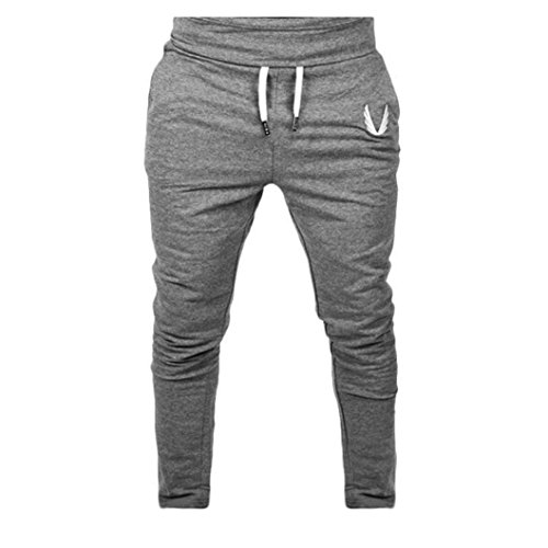 Perman Mens Pants, Casual Elastic Fitness Workout Running Gym Sportswear Pants Trousers, Cheap Stuff (S, Deep Gray) ()