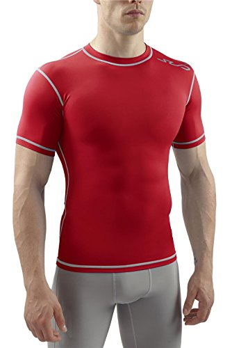 SUB DUAL Mens Compression Top - Short Sleeve All Season Base Layer - Red - XL