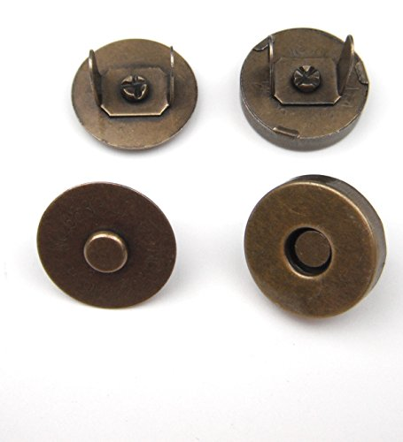 ALL in ONE 10 Sets Magnetic Button Clasp Snaps for Sewing Craft Bag Clothing Scrapbooking No Tools Required (14mm, Antique Bronze)