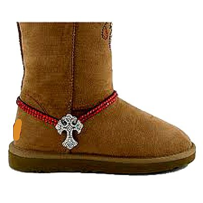 Western Red Rhinestones Clear Crystal Cross Boot Anklet Cowboy Cowgirl Style by Roger Enterprises