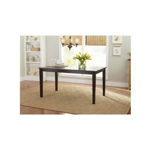 Dining Table. The wooden table set for 6 is great for your dining room. Counter height and great for kitchen and patio. The table is mocha color, solid, and can be used with table top cloth. This furniture is a great addition to your home. Guaranteed