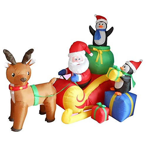 - Phoenixreal 7 Foot Christmas Inflatables Santa on Sleigh, Animated Airblown Inflatable Santa with Penguins Gifts on Sleigh Pulled by Reindeer, Lighted for Home Outdoor Yard Lawn Decoration