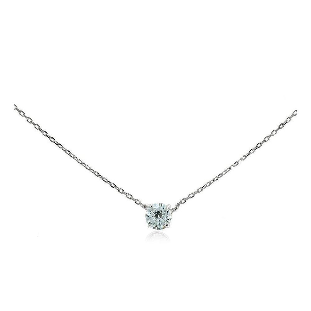 Sterling Silver Cubic Zirconia Solitaire Choker Necklace Glitzs Jewels 5747
