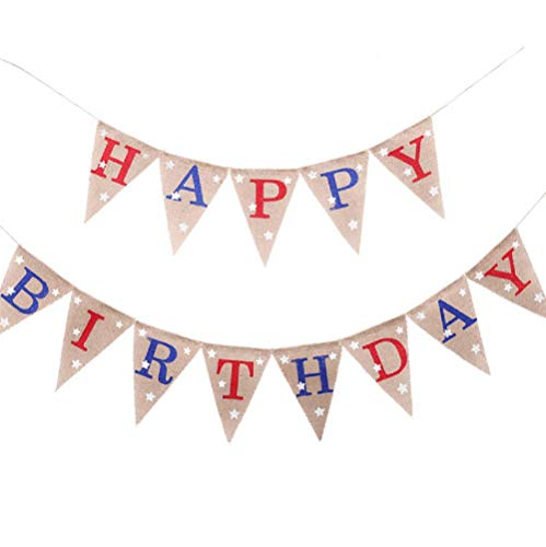 EBTOYS HAPPY BIRTHDAY Banner 4th of July Banner America Independence Day Garland Bunting Banner Memorial Day Veterans Day Photo Prop Sign (Happy Birthday On The 4th Of July)