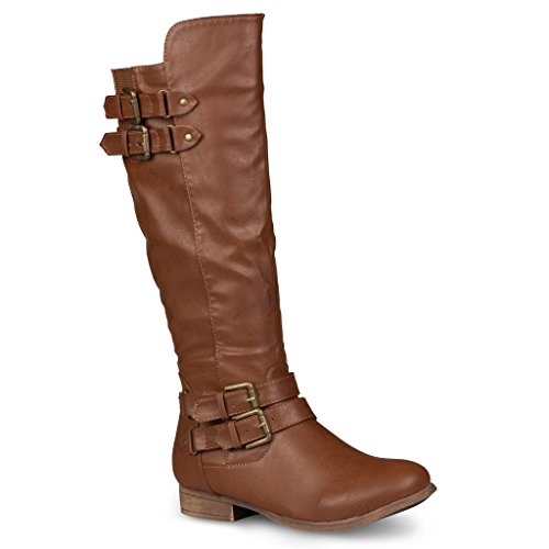 Twisted Women's Chloe Faux Leather Knee High Riding Boots with Buckle Straps - CHLOE74 Brown, Size - High Brown Knee Womens Boots