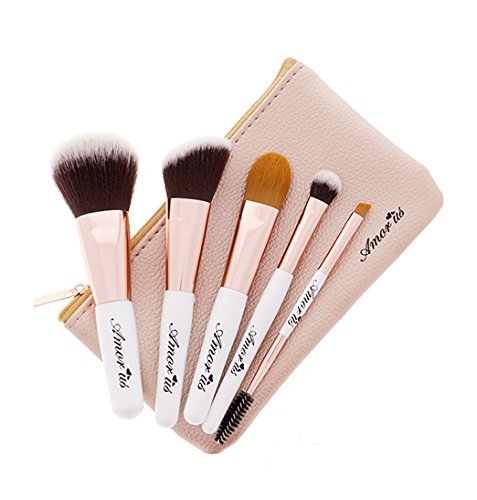 5-Piece Set Petite Travel Essentials Makeup Brush Set with Pouch by Amorus USA Foundation Blush Concealer Eyeshadow Eyebrow Eyeliner Vegan Cruelty Free with Bag