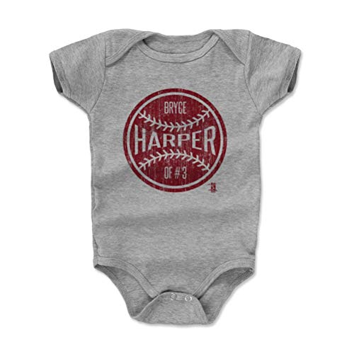 - 500 LEVEL Bryce Harper Philadelphia Baseball Baby Clothes, Onesie, Creeper, Bodysuit (12-18 Months, Heather Gray) - Bryce Harper Philadelphia Ball R