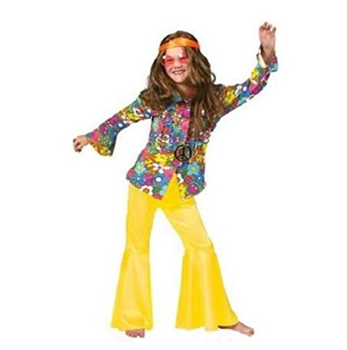 Girls Yellow Disco or Hippie Costume Pants - Child Medium (Disco Costumes For Kids)