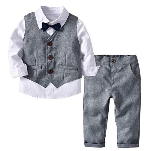 Happy Cherry Baby Boy Gentleman White Shirt Waistcoat Bowtie Tuxedo Onesie Jumpsuit Overall Romper Grey M