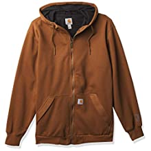 Carhartt Men's Rain Defender Loose Fit Midweight Thermal-Lined Full-Zip Sweatshirt, Oiled Walnut Heather, Medium