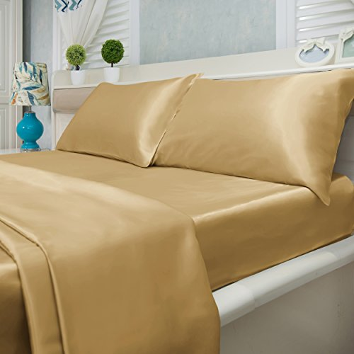 (Natural Life Home 4 Piece Satin Sheet Set, Queen, Bronze)