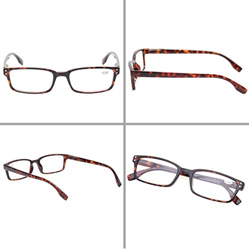 READING GLASSES 4 Pack Spring Hinge Comfort Readers Plastic Includes Sun Readers
