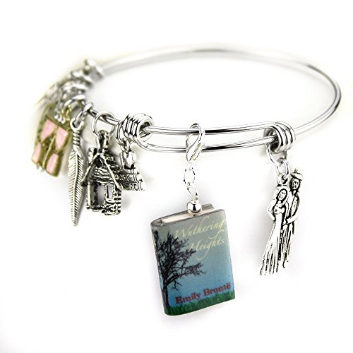 Emily Clay - WUTHERING HEIGHTS Emily Bronte Clay Mini Book Expandable Stainless Steel Bangle Bracelet by Book Beads