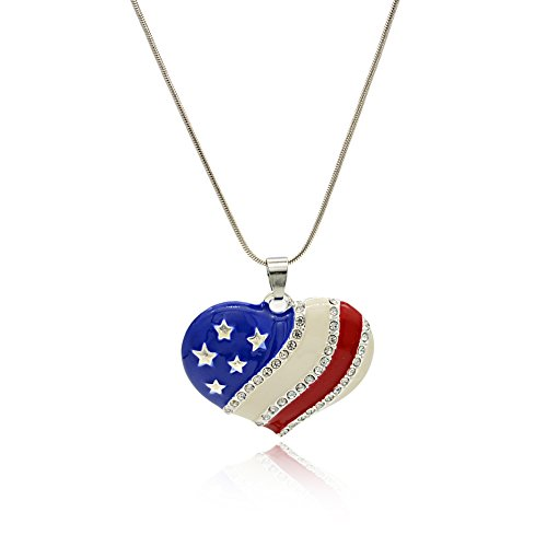 4th of July Pendant Necklace for Women 18 Inches Snake Chain Wxbox