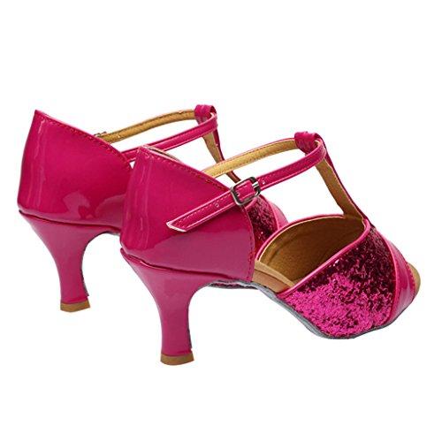 Ottimale Donna Nastro Nodo In Raso Cinturino Alla Caviglia Scarpe Da Ballo Latino Rosso Rosa