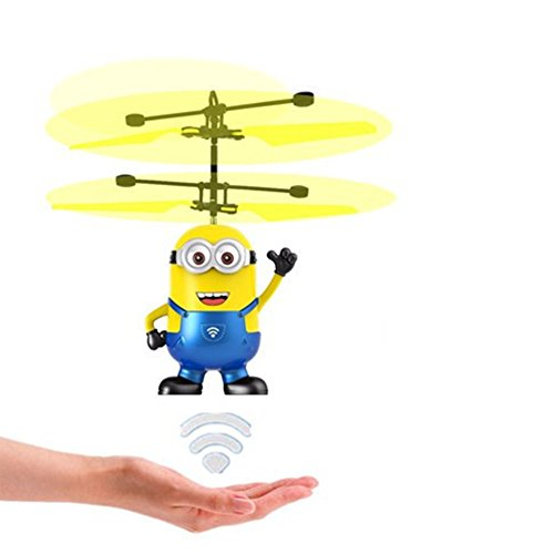 Helicopter Flying Remote (TEKIMBE RC Helicopter Me Minion Induction Flying Toy Drone Remote Control Aircraft Toy With Led Birthday Chrismas Gifts For Children kids)