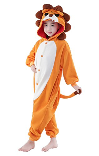 Halloween Child Pajamas Animal Cosplay Costume Anime Makeup Partywear Jumpsuit Outfit-Brown Lion,95 - Halloween Lion Costume Makeup