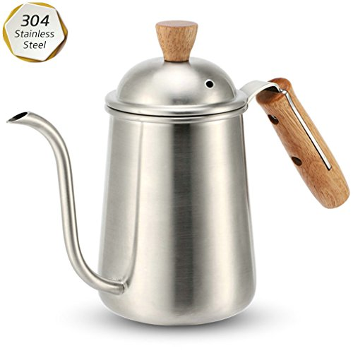 GuDoQi Thicken 304 Stainless Steel with Wooden Handle Hand Drip Coffee Pot Long Arm and Slim Mouth Brewing Coffee Silver 650Ml by GuDoQi